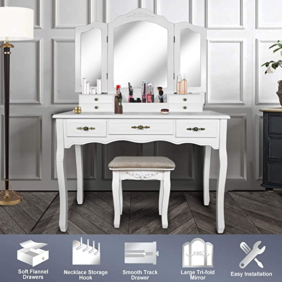 Vanity Beauty Station,Large Tri Folding Necklace Hooked Mirrors,6 Organization 7 Drawers Makeup Dress Table With Cushioned Stool Set   White by Enstver