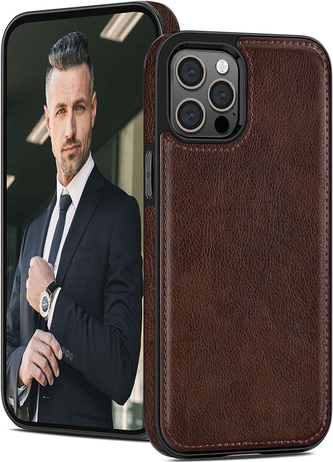 LOHASIC Leather for iPhone 12 Pro Max Case Men, Phone Cover Vintage Retro Hybrid Women, Protective Shockproof Non-Slip TPU Bumper Defender Compatible with iPhone 12 Pro Max 5G (2020) 6.7 Brown