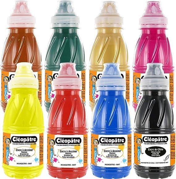 Cléopâtre - Juego de 7 diseños coloridos + 1 tinta de China, 8 colores, frascos de 250 ml: Amazon.es: Hogar