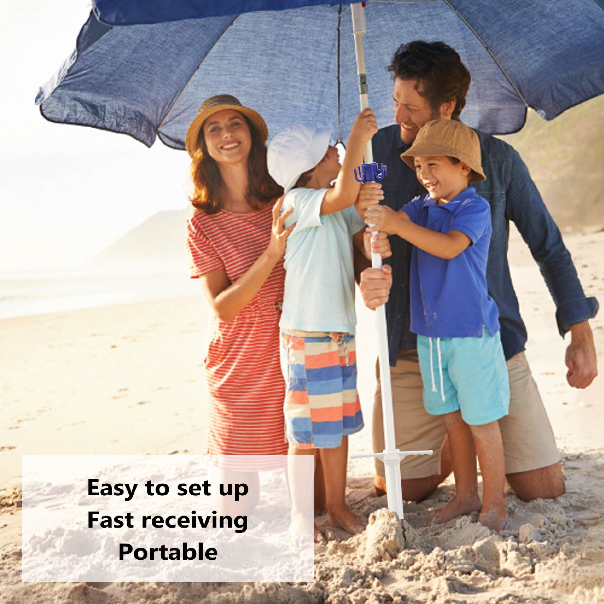 Buluri Beach Umbrella Sand Anchor,One Size Fits All,Safe Stand For Strong Winds,Stand Holder with 3-Tier Screw,Sand Auger,Umbrellas,Tents,Fishing Poles