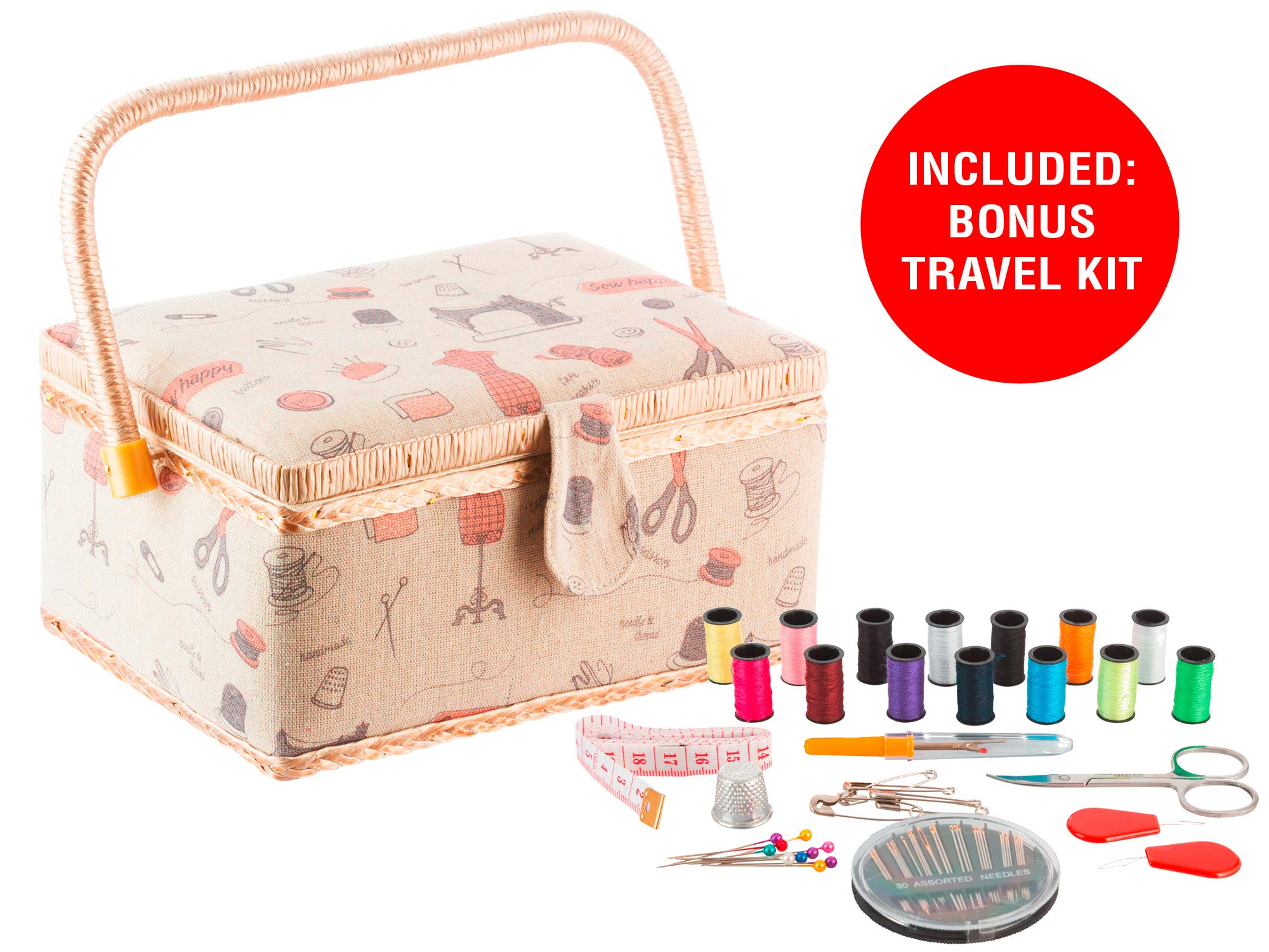 StorageMaid Sewing Basket with Bonus Travel Kit - All Essential Mending Supplies - DIY Darning Supplies Organizer Filled with Scissor, Thimble, Thread, Sewing Needles, Tape Measure and More by StorageMaid