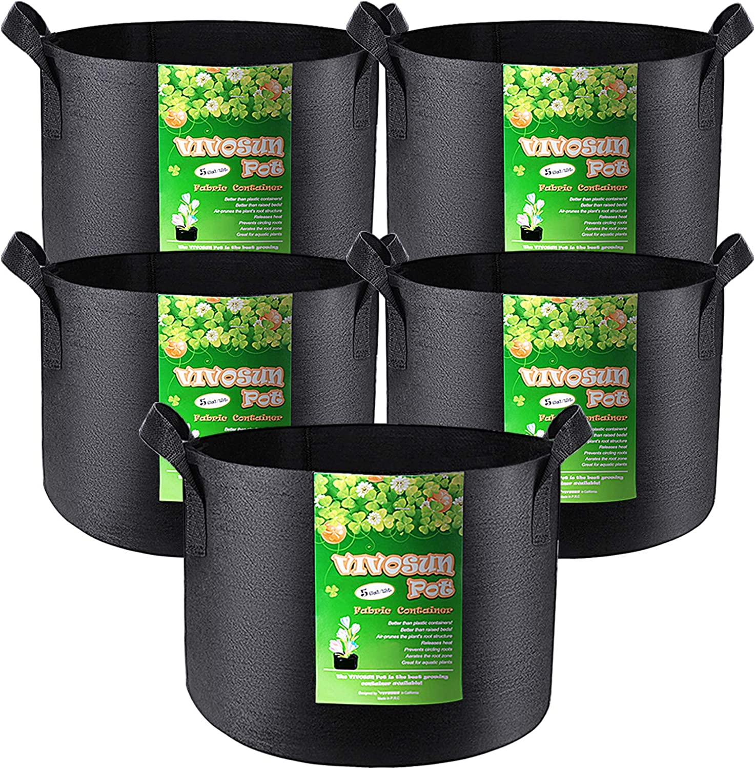 VIVOSUN 5-Pack 5 Gallon Grow Bags Heavy Duty 300G Thickened Nonwoven Plant Fabric Pots with Handles : Garden & Outdoor
