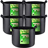 VIVOSUN 5-Pack 5 Gallons Grow Bags Heavy Duty Thickened Nonwoven Fabric Pots with Handles