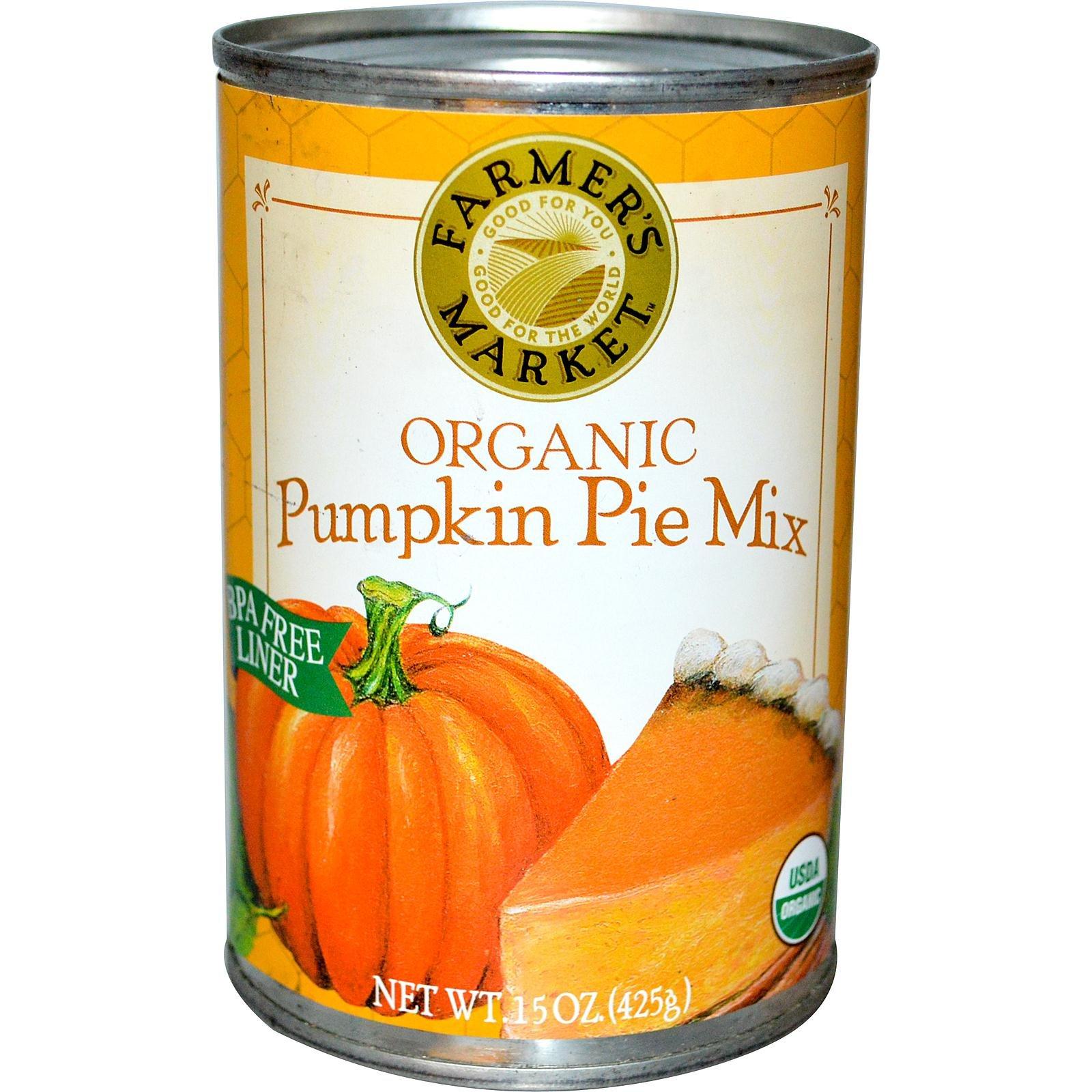 Farmer's Market Organic Canned Pumpkin Pie Mix, 15 Ounce (Pack of 12)