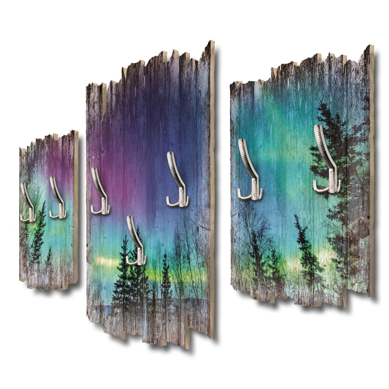 Kreative Feder Nordlichter Wandgarderobe Flurgarderobe Wandpaneele 95 x 60 cm aus MDF DTGH082