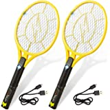 Tregini Large Electric Fly Swatter 2 Pack – Rechargeable Bug Zapper Tennis Racket with Safe to Touch Mesh Net and Built…