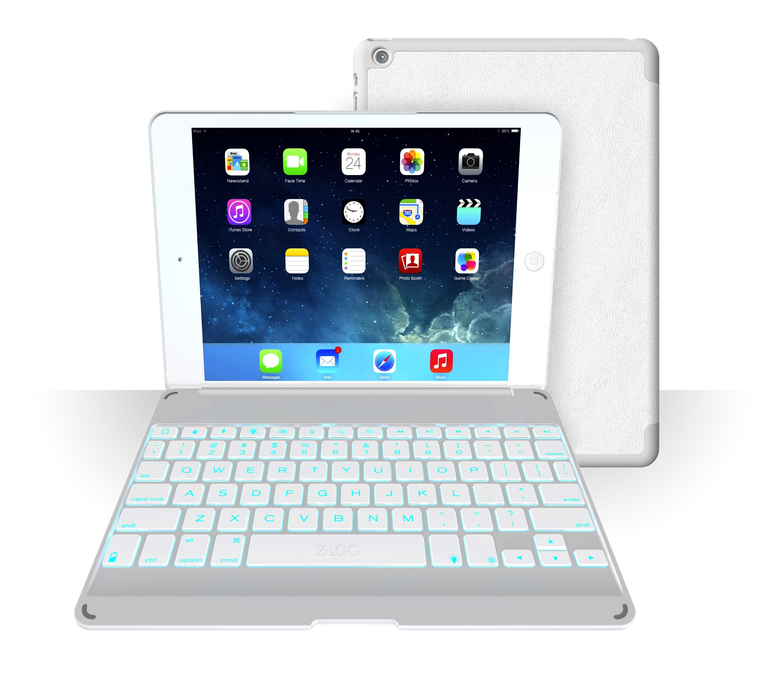 ZAGG Folio Case with Backlit Bluetooth Keyboard  for iPad Air - White by ZAGG (Image #1)