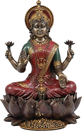 Ebros Beautiful Large Hindu Goddess Lakshmi Sitting On Lotus Flower Statue 12.25 Tall Hinduism Eastern Enlightenment Resin Altar Decor Figurine Deity of Prosperity Good Fortune Vastu Vishnu Shakti