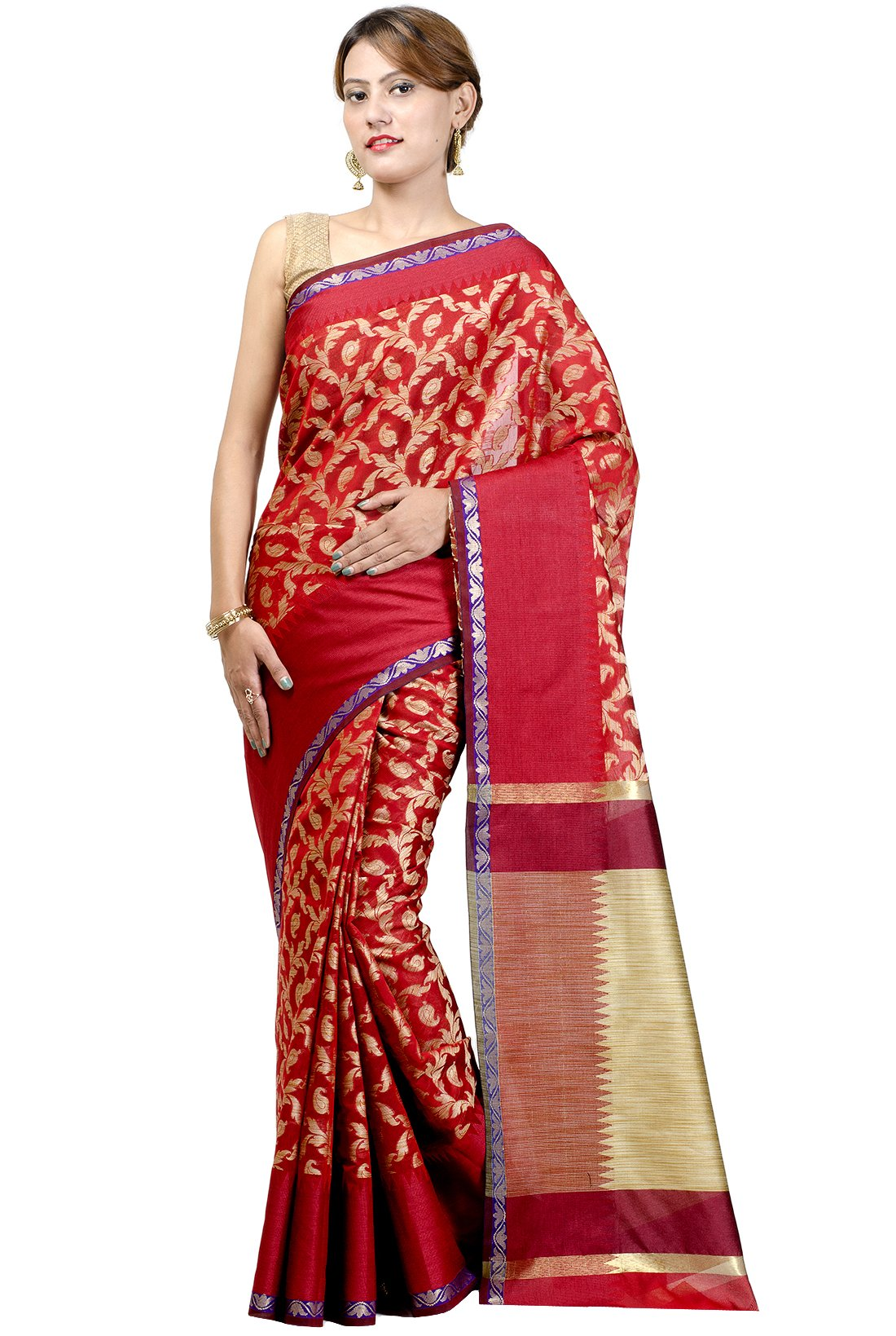 Chandrakala Women's Red Banarasi Cotton Silk Saree