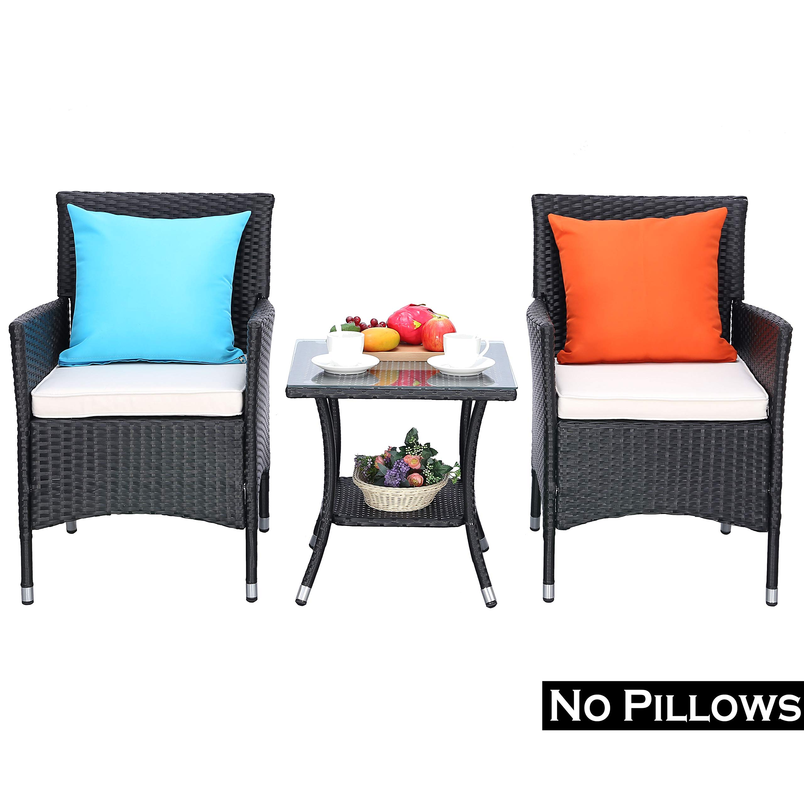 Do4U 3 Pieces Patio Furniture Set Outdoor Wicker Conversation Set Cushioned PE Wicker Bistro Set Rattan Chairs with Coffee Table | Porch, Backyard, Pool Garden | Dining Chairs (961-BLK-BEG) by Do4U (Image #2)