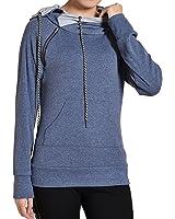 Begonia.K Women's Pullover Hoodie Oblique Zipper Heather Double Hooded Sweatshirt