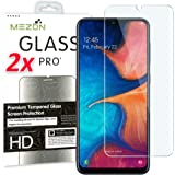 [2 Pack] MEZON Crystal Clear Premium 9H HD Tempered Glass Screen Protector for Samsung Galaxy A20 – Case Friendly, Shock Absorption (Galaxy A20, 9H HD)
