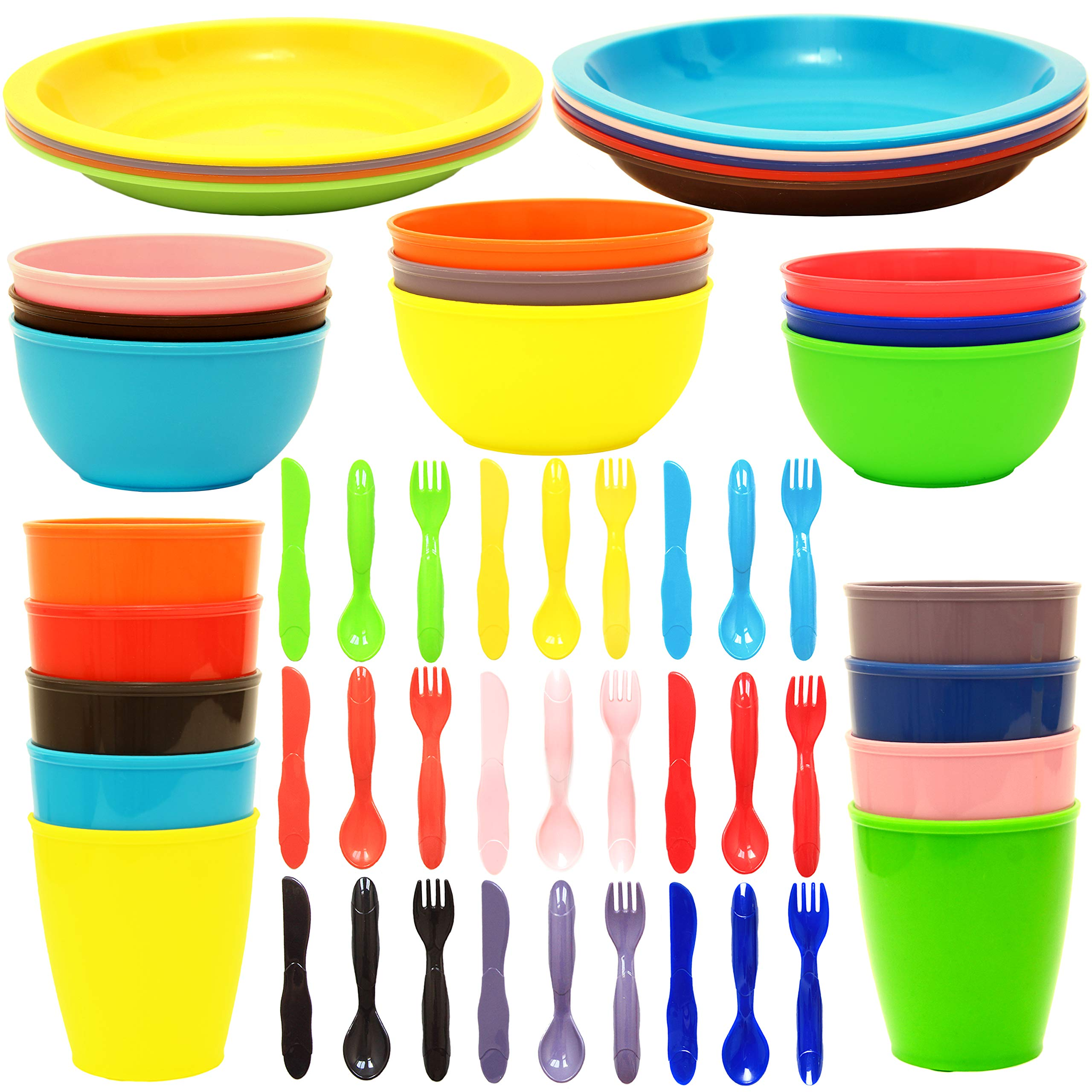 Youngever 54 pcs Plastic Kids Dinnerware Set, Toddler Dining Set, Cups, Kids Plates, Kids Bowls, Flatware Set, Kids Dishes Set, Set of 9 in 9 Assorted Colors by Youngever