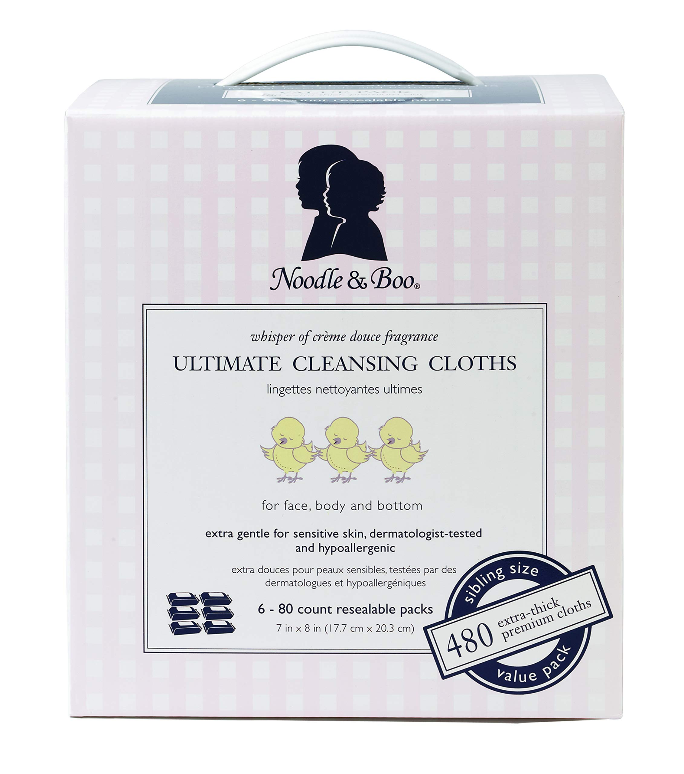 Noodle & Boo Sibling Sized Wipes Ultimate Cleansing Cloths 6 Pack, 480 Count