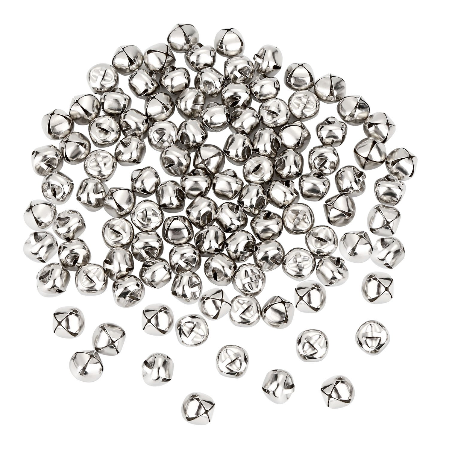 Shappy 100 Pieces Jingle Bells, 0.5 inch Metal Bells Mini Craft Bell Bulk for DIY Decoration (Silver Color)