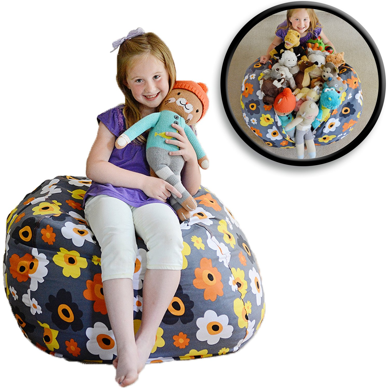 "Extra Large - Stuffed Animal Storage Bean Bag Chair - Premium Cotton Canvas - Clean Up The Room And Put Those Critters To Work For You! - By Creative Qt (38"", Grey Floral)"