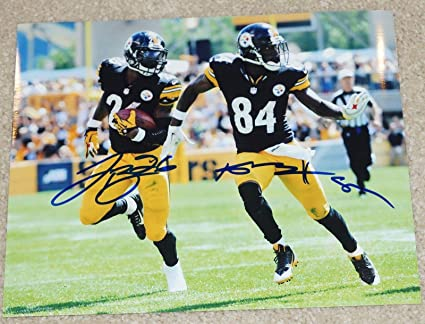 50ff01826 Antonio Brown  84   Le Veon Bell  26 Signed PITTSBURGH STEELERS 8x10 photo