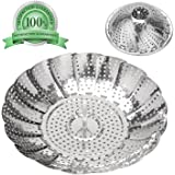 """Vegetable Steamer Basket - 5.3"""" Expands to 9"""" - Steaming Insert Serving Bowl - by AMFOCUS"""