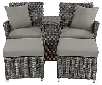 Amazonde Lounge Doppelsessel Duo Mit 2 Hockern Robustes