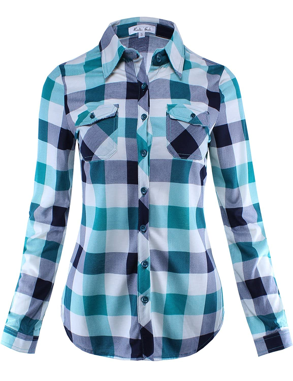 Ladies' Code Women's Checkered Plaid Button Down Shirt Top with Roll Up Sleeves
