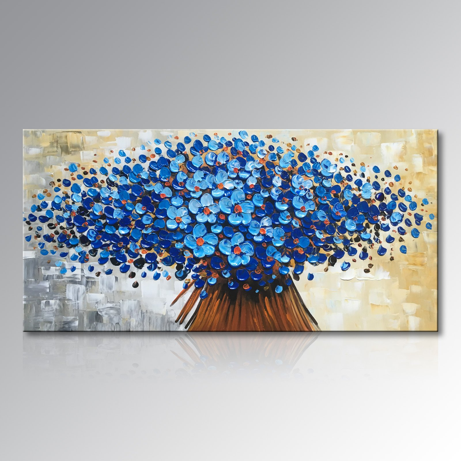 Winpeak Art Hand Painted Abstract Canvas Wall Art Modern Textured Blue Flower Oil Painting Contemporary Artwork Floral Hangings Stretched And Framed Ready to Hang (32'' W x 16'' H, Blue)
