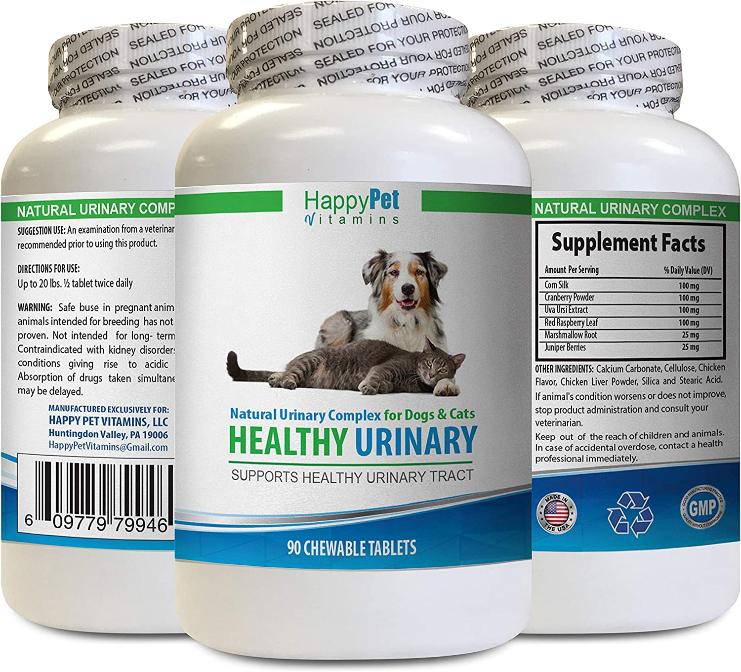 Dog Urinary Incontinence Treatment - PET Healthy Urinary Tract Solution - Dogs and Cats - Bladder - Stop UTI - Cranberry for Dogs - 1 Bottle (90 Tablets)