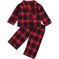 Trajes de Cuadros Rojos para niños pequeños, niñas y niños, Camiseta de Manga Larga, Pantalones, 2 uds, Pijamas de…