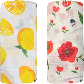Bamboo Muslin Swaddle Square Blankets - 2 Pack 47'x47' Floral & Flamingo Print Baby Receiving Blanket Wrap for Girl Shower Gift by Qav Juh (Flamingo&Floral)