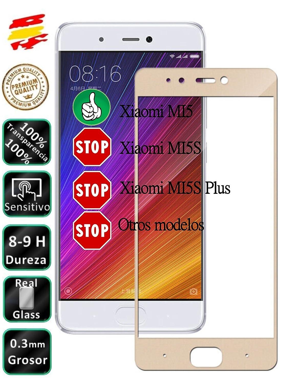 Movilrey Protector para Xiaomi MI5 Dorado Completo 3D Cristal ...