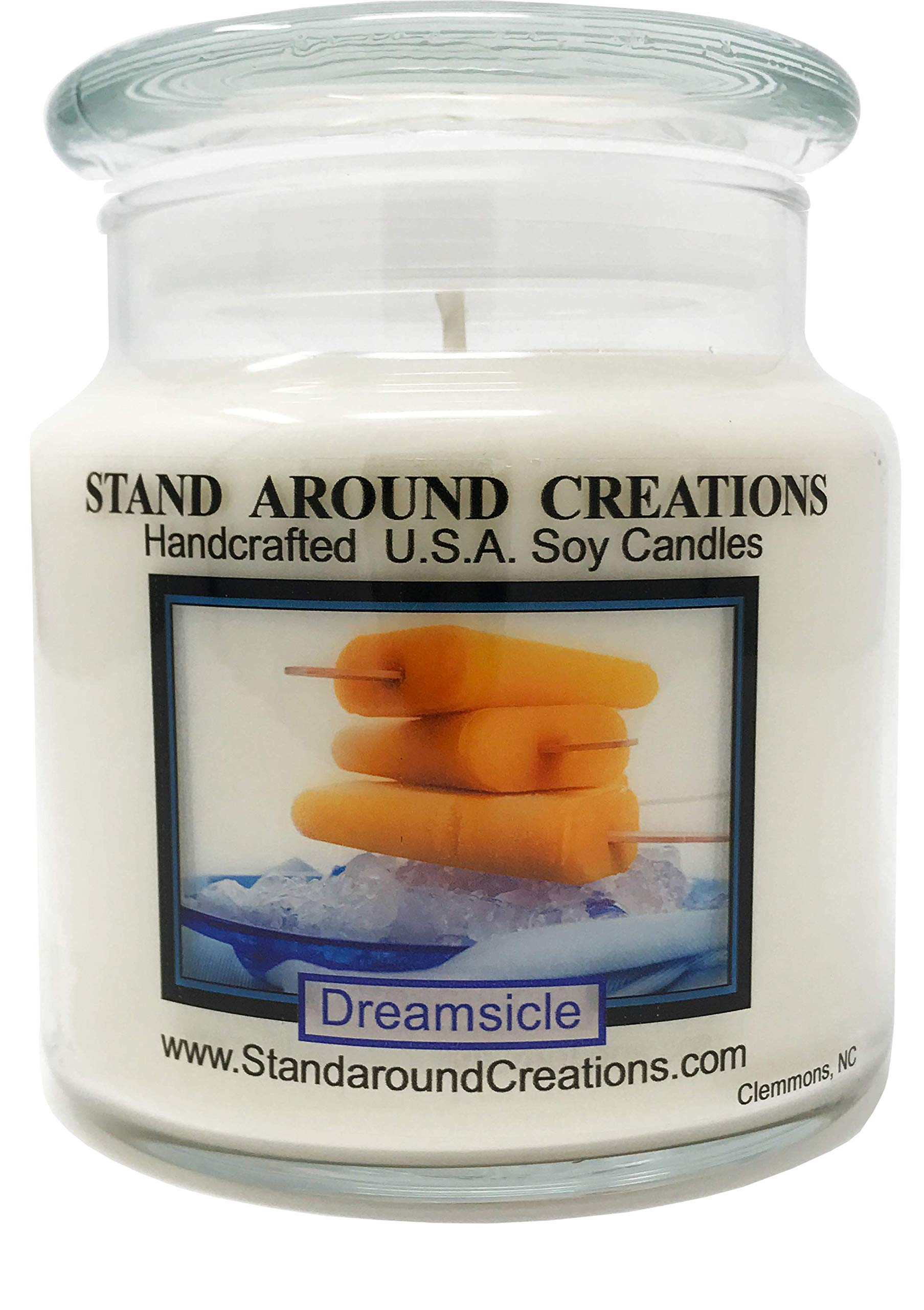 Premium 100% Soy Apothecary Candle - 16 oz. Dreamsicle: Vibrant orange citrus and heartwarming vanilla blended together.