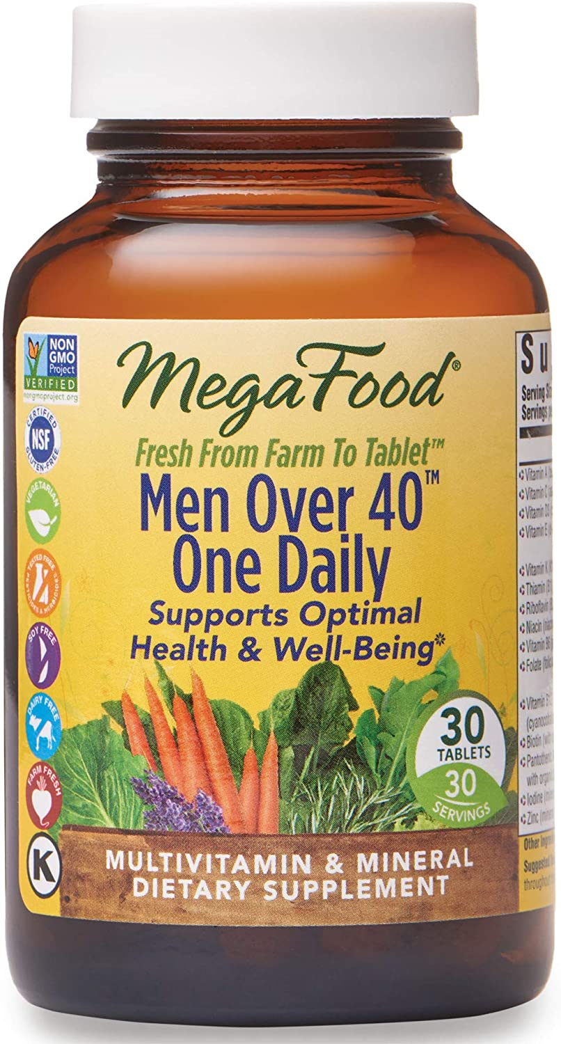MegaFood, Men Over 40 One Daily, Daily Multivitamin and Mineral Dietary Supplement with Vitamins B, D and Zinc, Non-GMO, Vegetarian, 30 Tablets (30 Servings)