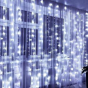 Greenke White String Lights Curtain String Lights 300 LED Christmas Lights USB Remote Light Curtain Fairy String Lights for Bedroom Indoor String Light Wall Decor - White