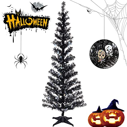 Halloween Tinsel Trees Collapsible, 5FT Artificial Christmas Tree Reusable,  Pop Up Pencil Xmas Tree with Plastic Stand Outdoor Indoor for Home
