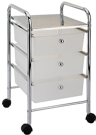 Home Vida Carrito de baño de 3 cajones con Ruedas Color Blanco Funda para Almacenamiento, Metal: Amazon.es: Hogar