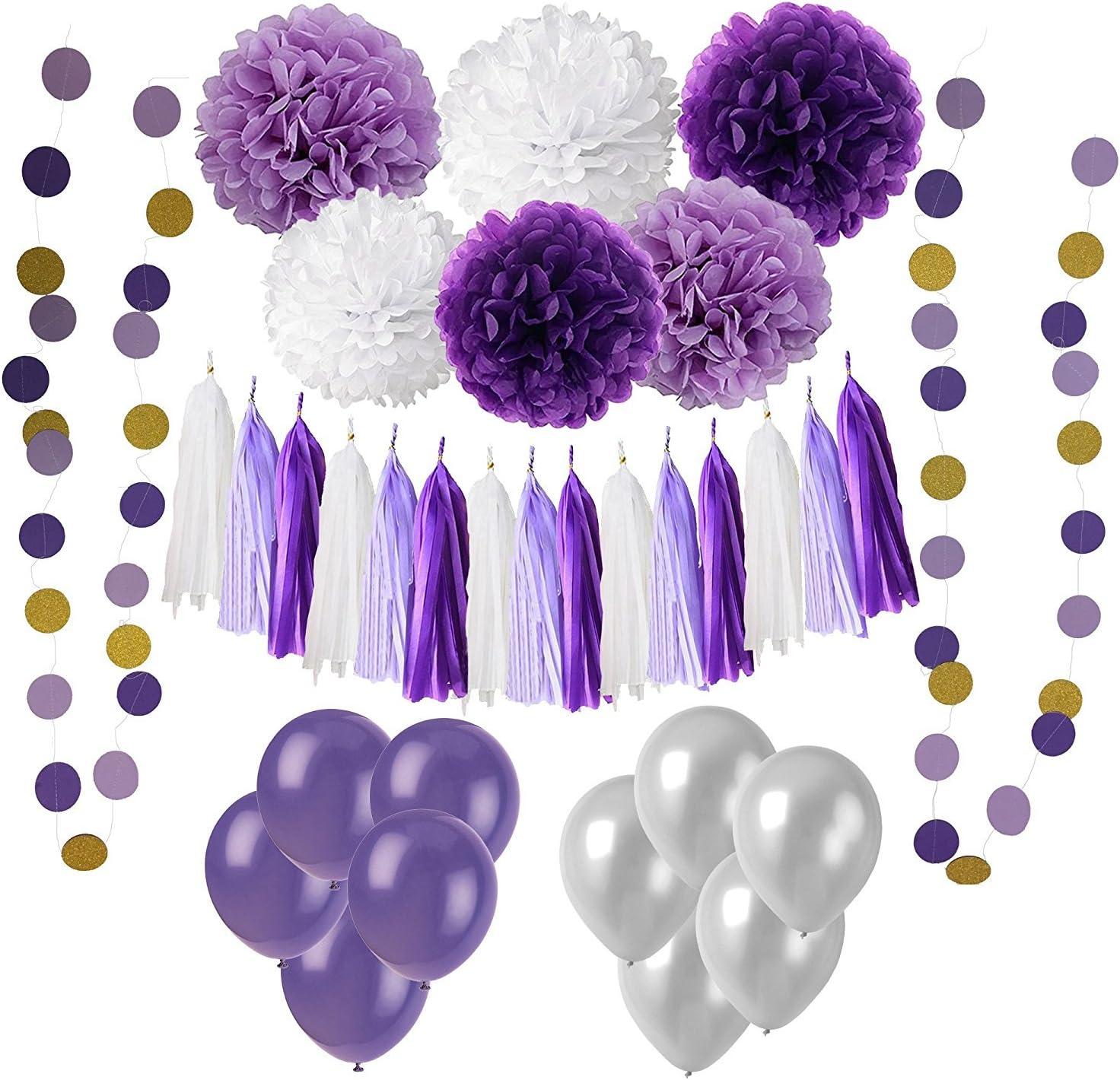 20x lilac paper pom poms purple lanterns wedding party birthday venue decoration