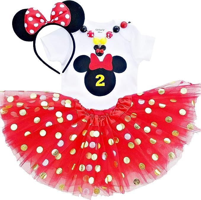 Disfraz de Minnie Mouse para niña de 2º cumpleaños, tutú de Oro ...