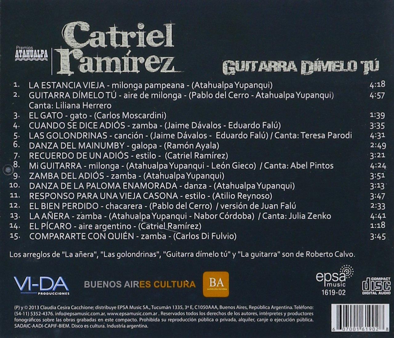 Guitarra Dimelo Tu: Catriel Ramirez: Amazon.es: Música