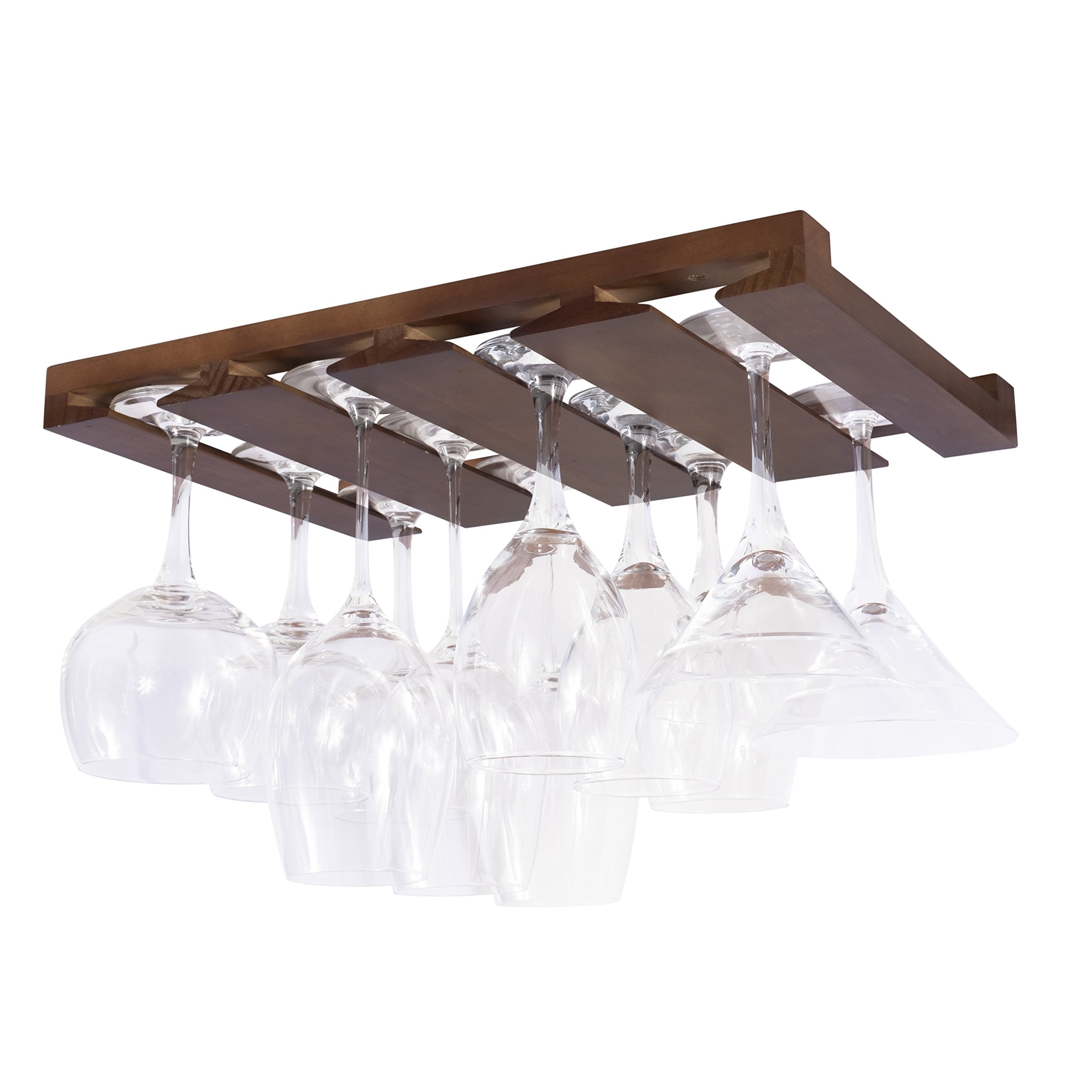 Rustic State 4 Sectional Under Cabinet Wood Stemware Rack 12 Inch Deep (Chestnut) by Rustic State