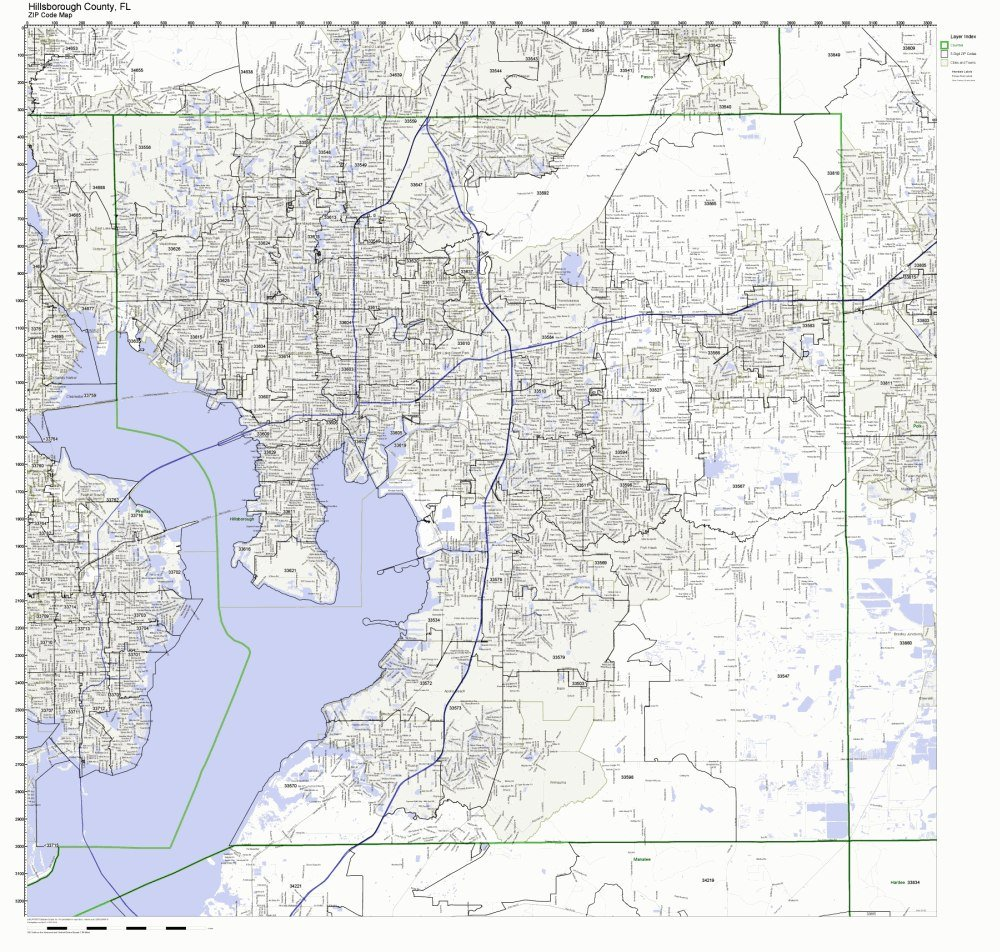 hillsborough county florida map with zip codes
