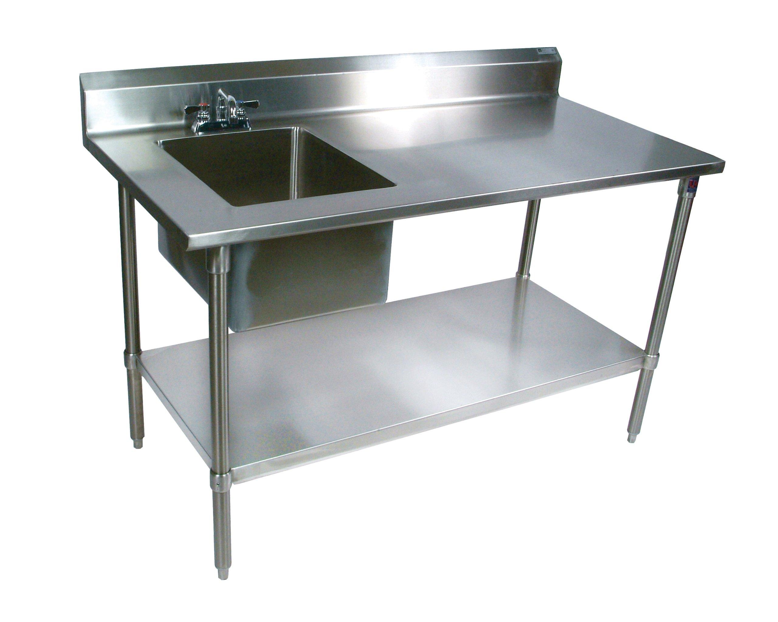 John Boos EPT6R5-3060GSK-L Stainless Steel Prep Table with Sink Bowl, Galvanized Undershelf, 60'' Length x 30'' Width, Left Hand Side