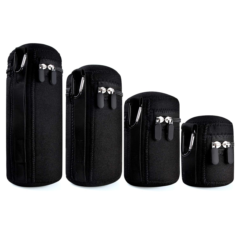 waka [4 Pack] Thick Protective Neoprene Camera Lens Pouch Set, Camera Lens Case Zipper DSLR Camera Lens (Canon, Nikon, Sony, Olympus, Panasonic)- Small, Medium, Large, Extra Large