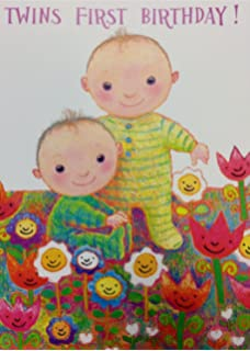 Twins First Birthday Card Cute Design Standard 5x7 Size