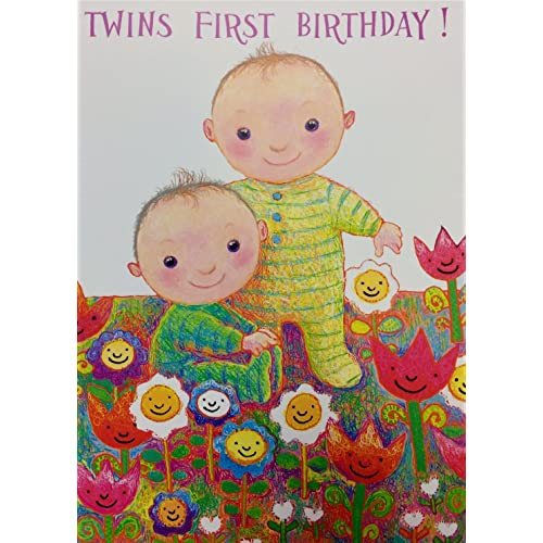 Twins First Birthday Card Cute Design Standard 5x7 Size