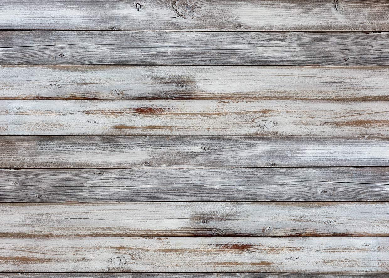 LYWYGG 7x5ft Thin Vinyl Grey Wood Backdrop Photographers Retro Wood Wall Background Cloth Seamless CP-174