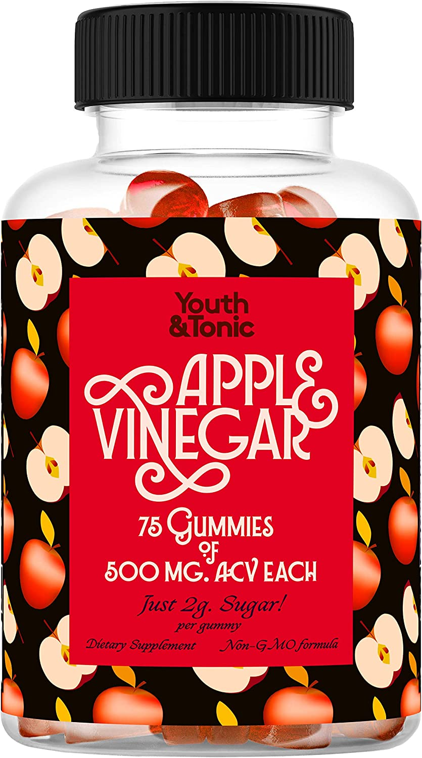 75 servings of ACV Gummies with Mother   500mg Organic Raw Unfiltered Apple Cider Vinegar per Gummy & Vitamin B12 B9 B6  Alternative to Pills Capsules Tablets   Detox Enzymes Bloating Cravings Support