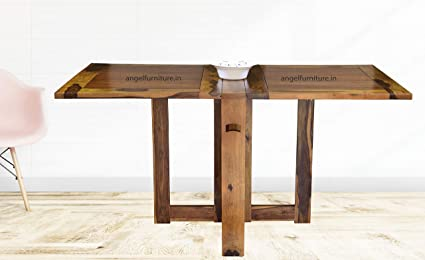 Angel Furniture Sheesham Wood Folding Dining Table Plain Top Honey