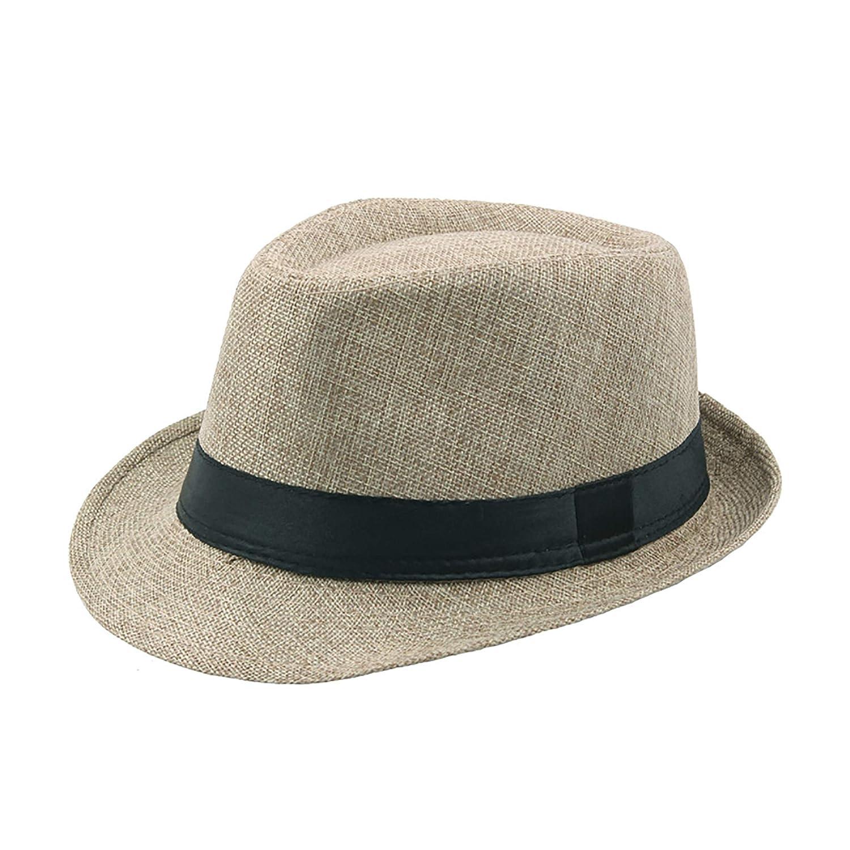 IL Caldo Mens Summer Linen Sewn Hat,Breathable Linen Porkpie Hat Stingy Brim Cap