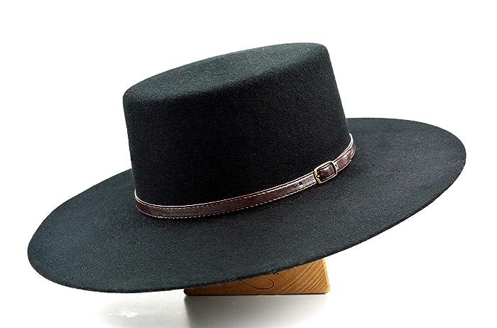 fd54c19b94979 Amazon.com  The Galloper - Wool Felt Flat Crown Bolero Hat - Wide Brim -  Men Women  Handmade