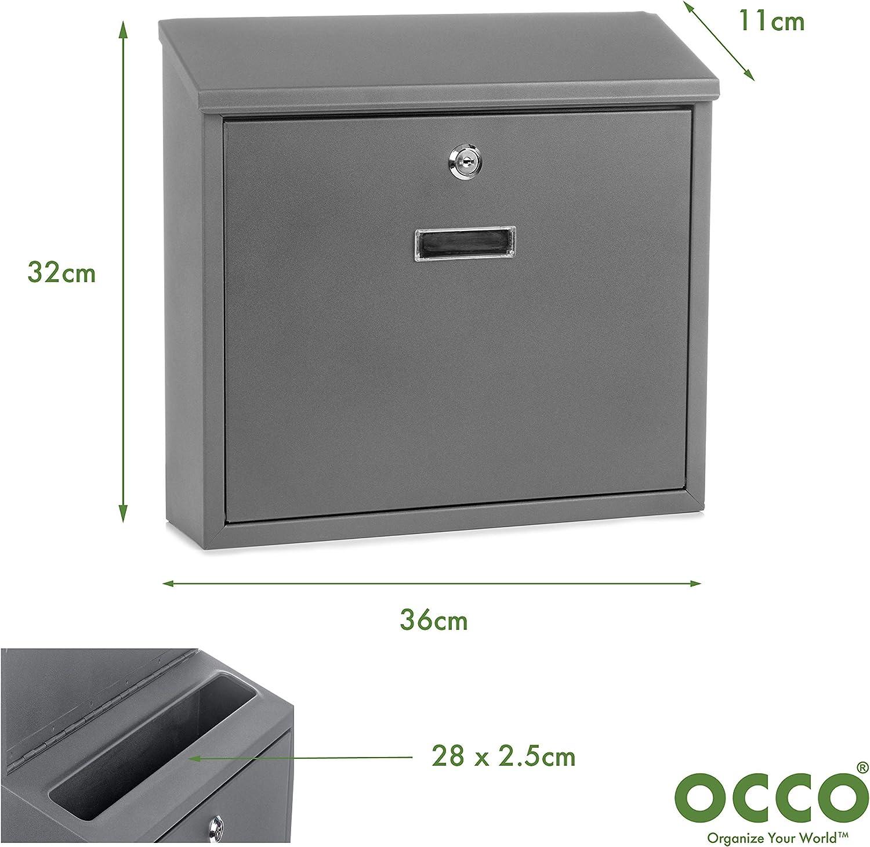 OCCO OC100100 Arvika Bo/îte aux lettres murale verrouillable avec rev/êtement en poudre Noir 32 x 36 x 11 cm