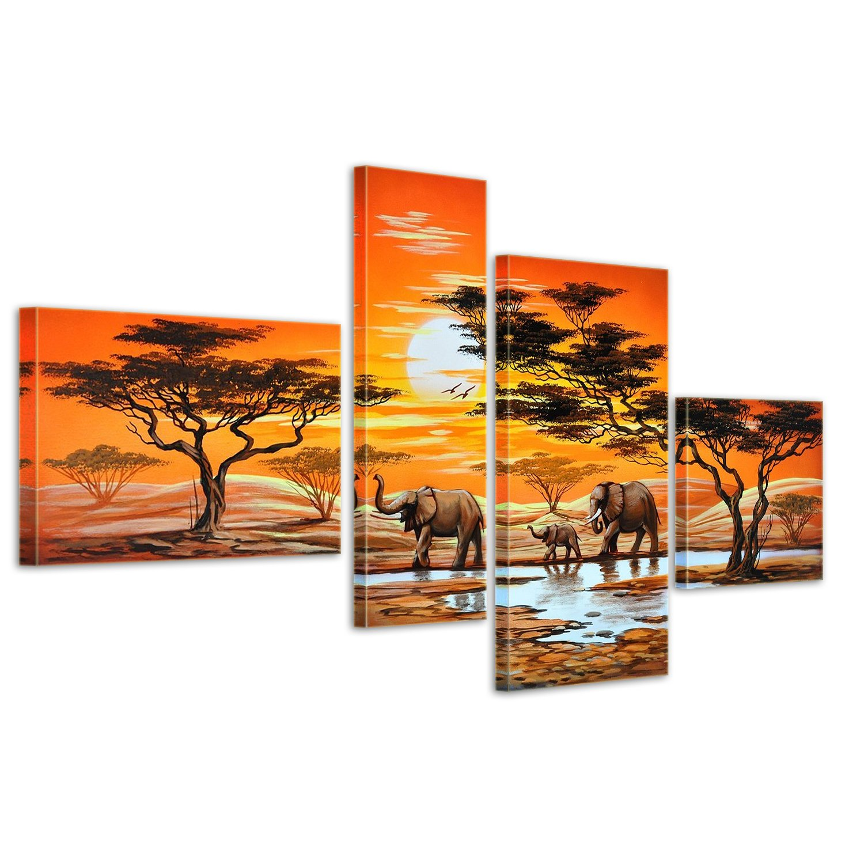 Bilderdepot24 Elefant Afrika M6 handgemaltes Leinwandbild 120x70cm 4 teilig 361